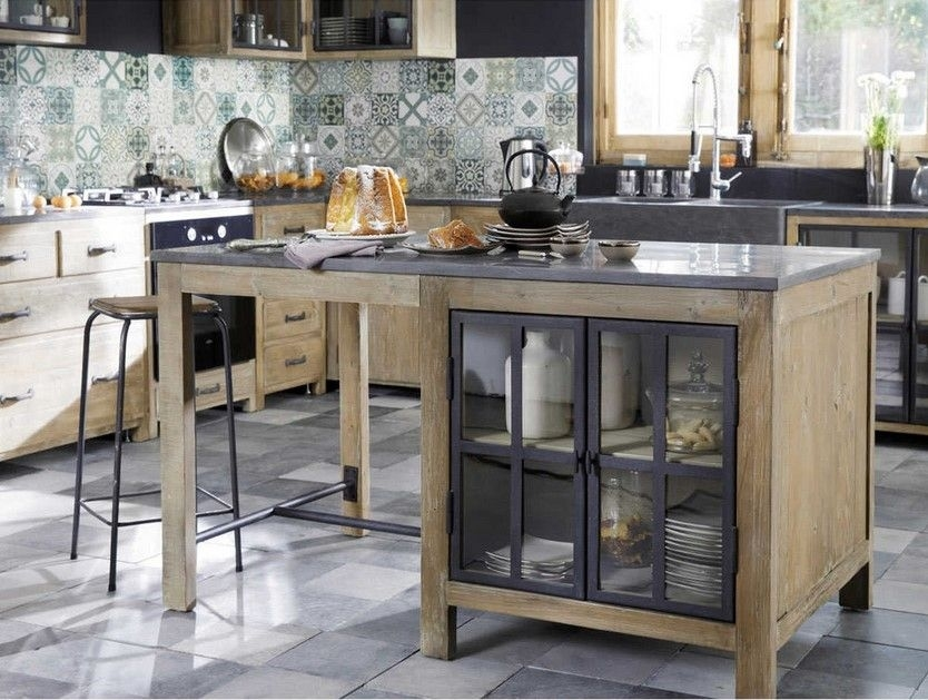 ilot central cuisine en pin recycle maisons du monde