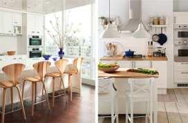 Cocina blanca con madera