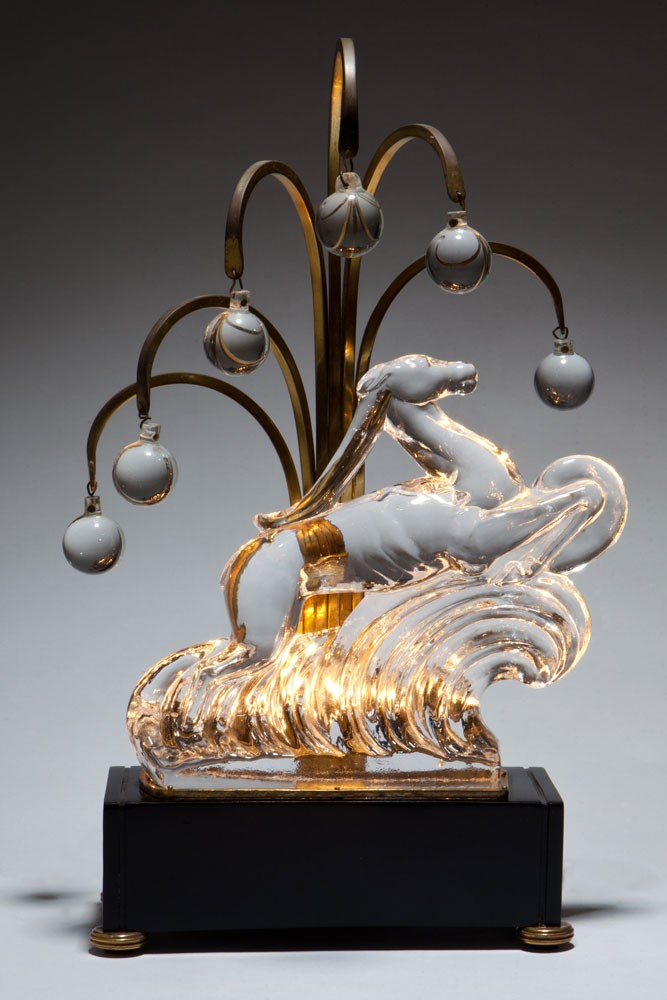 Steuben Art Deco Glass Gazelle Lamp On Bakelite Base