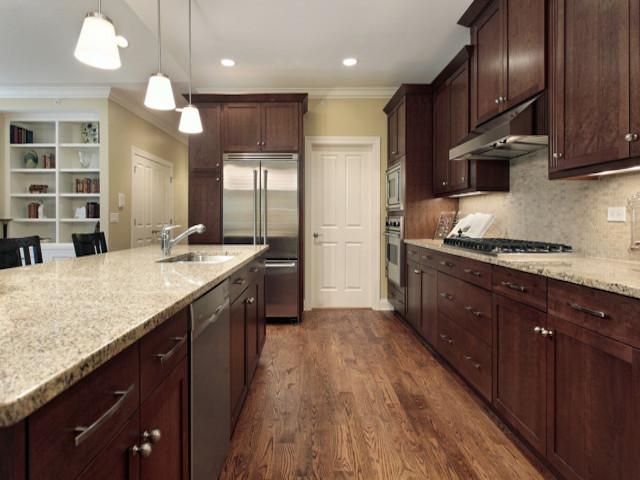Santa Cecilia Light Granite Dark Cabinets Backsplash Ideas on Backsplash With Dark Granite  id=20428