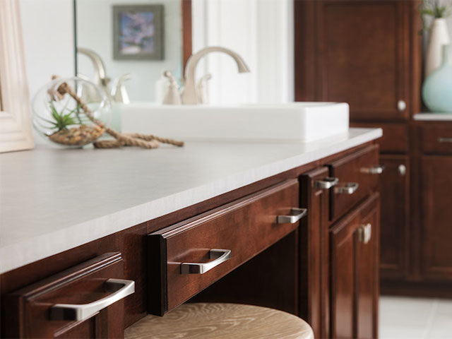 Dark Maple Bathroom Vanity Cabinet White Countertops on Maple Cabinets With White Countertops  id=80462