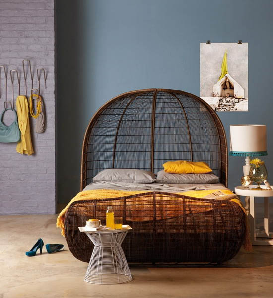 Blue Wall Paint Color African Bed Made Of Wicker And Yellow Bedroom Decor Accessories