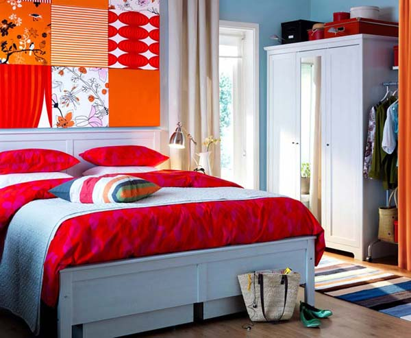 Blue Wall Paint And Bedding Bedroom Decorating With Orange Red Color Accents 10