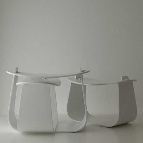 Wood Stool In Minimalist Style Reminescent Of Japanese Furniture