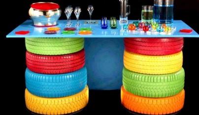 Decoraci n con neum ticos reciclados for Mesas con neumaticos