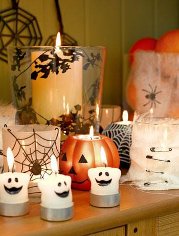 decoração para o Halloween com velas