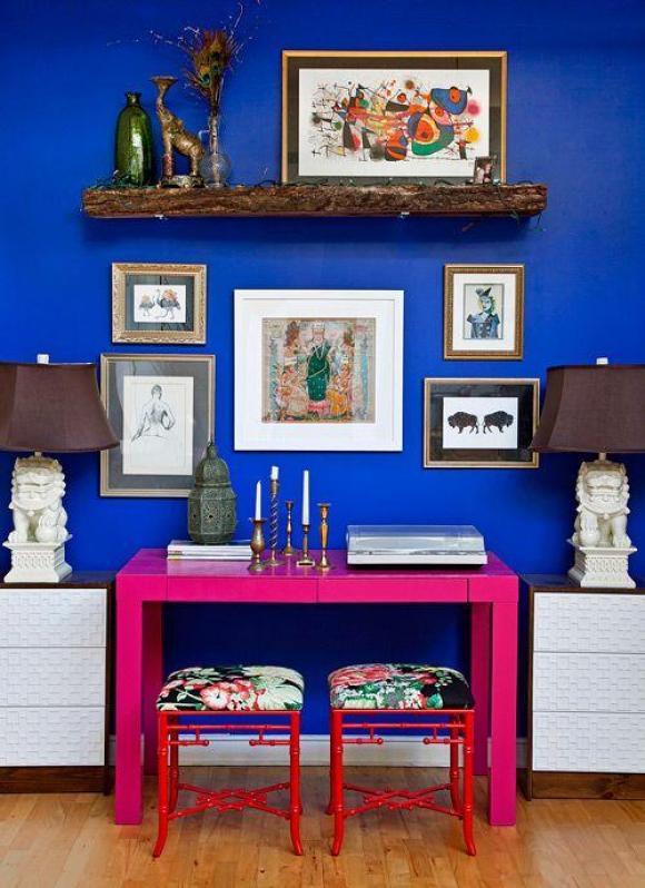 decoração vermelho rosa azul marinho