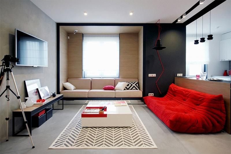sala preto branco vermelho