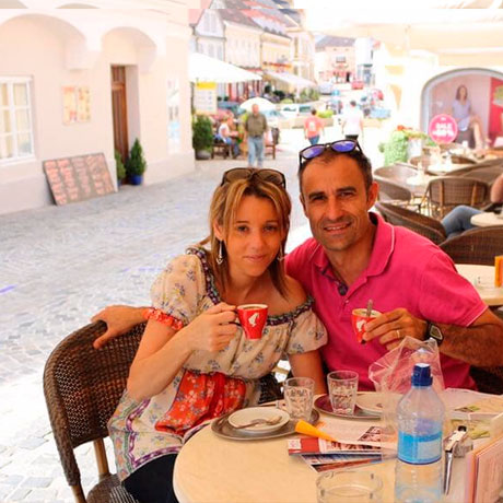 Tomando un café en Melk (Austria)