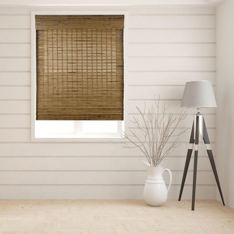 coastal with a bamboo shade curtain