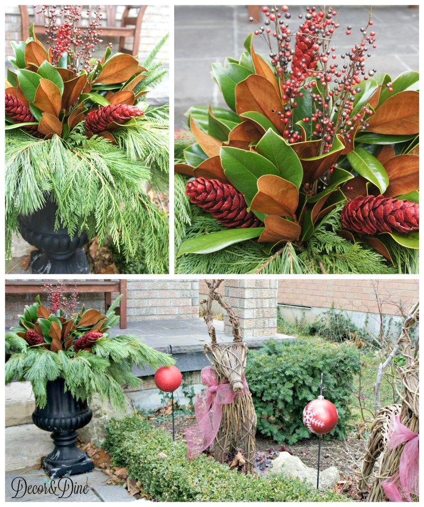Christmas planter and outdoor decorations