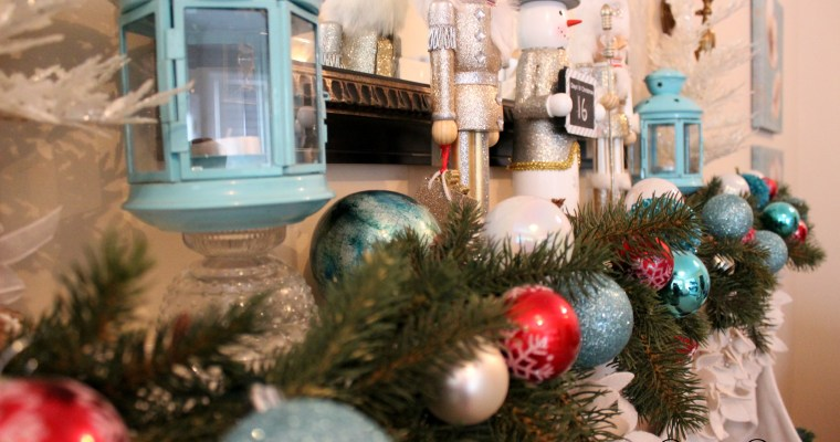 Christmas Mantel…adding a pop of red