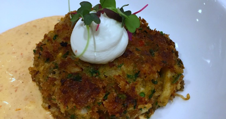 Dungeness Crab Cake with Roasted Red Pepper Aioli