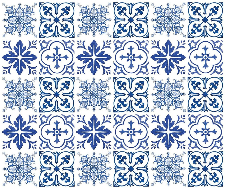 blue and white tile stickers -2