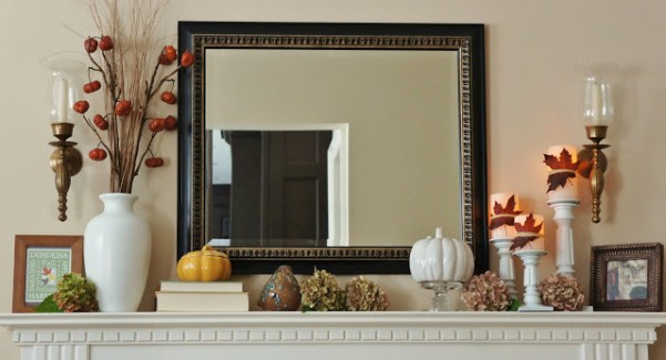 fall mantel, with candles