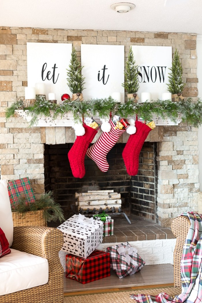 Christmas-Mantel-decorating-with-greenery-8
