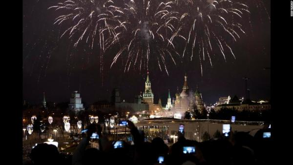 new year celebration.kremlin in moscow
