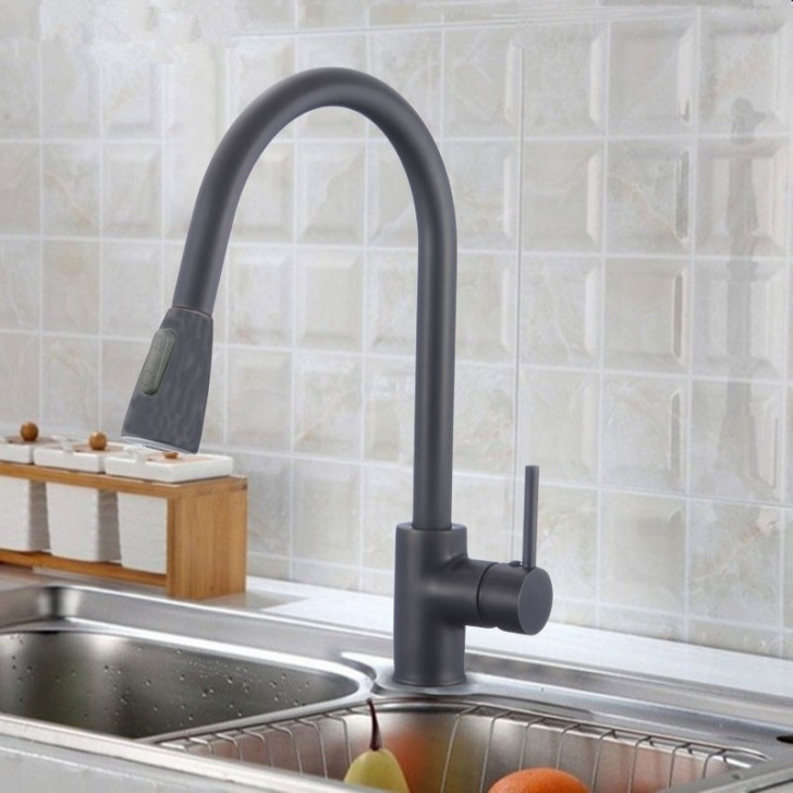 matte black finished brass kitchen faucet pull out spray head 82h11 mb
