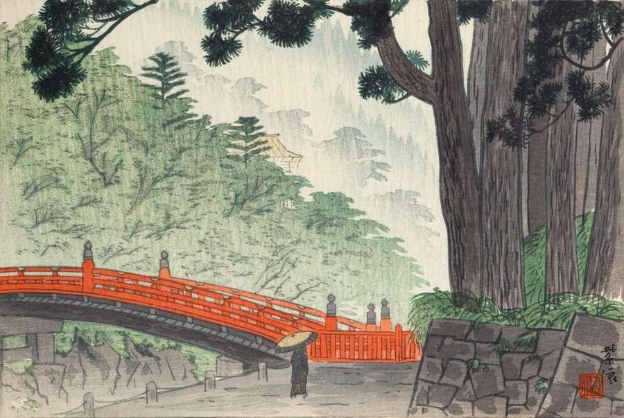 toile japonaise pont sacre nikko 70x47cm