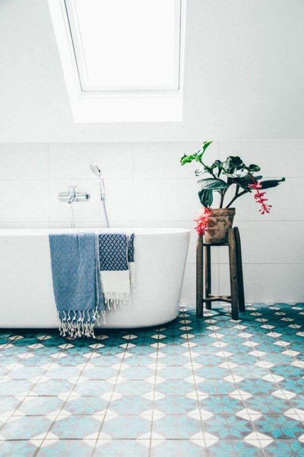 Baño en azul y blanco