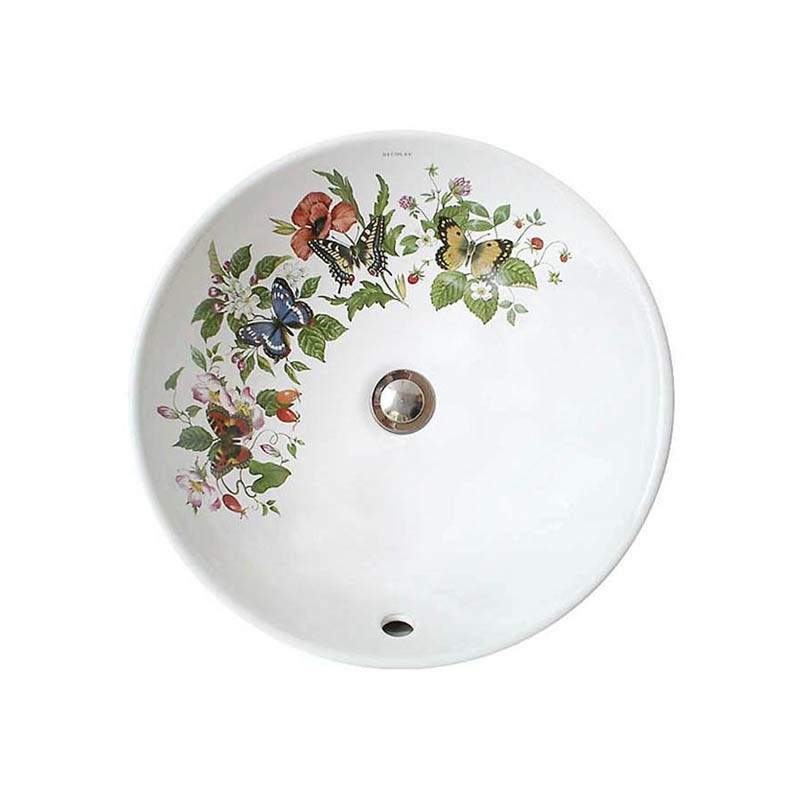 Butterflies and Flowers design painted on a white 16
