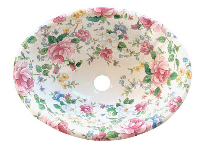 Chintz fluted hand painted sink