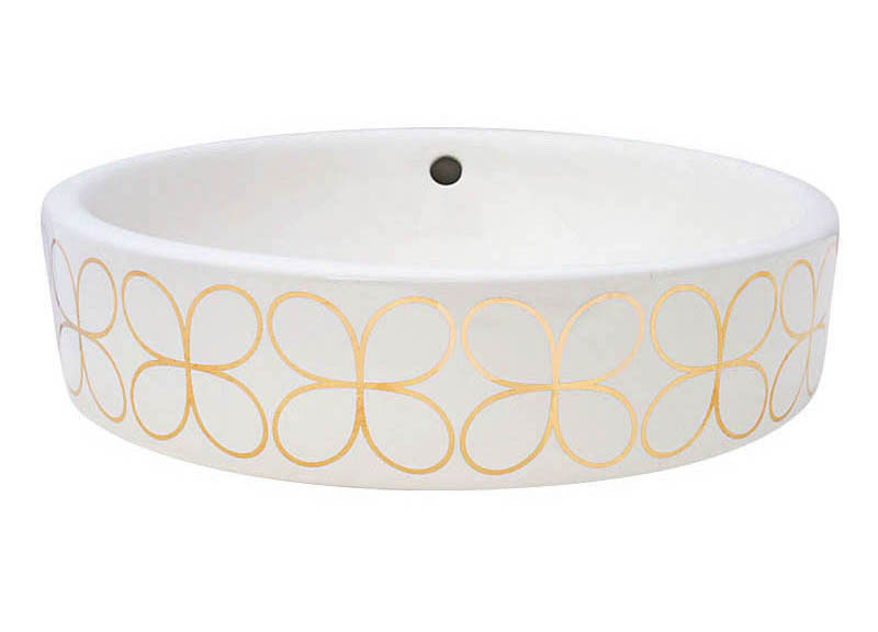 Gold Cloverleaf Design Looks Great On A Round White Vessel Sink.