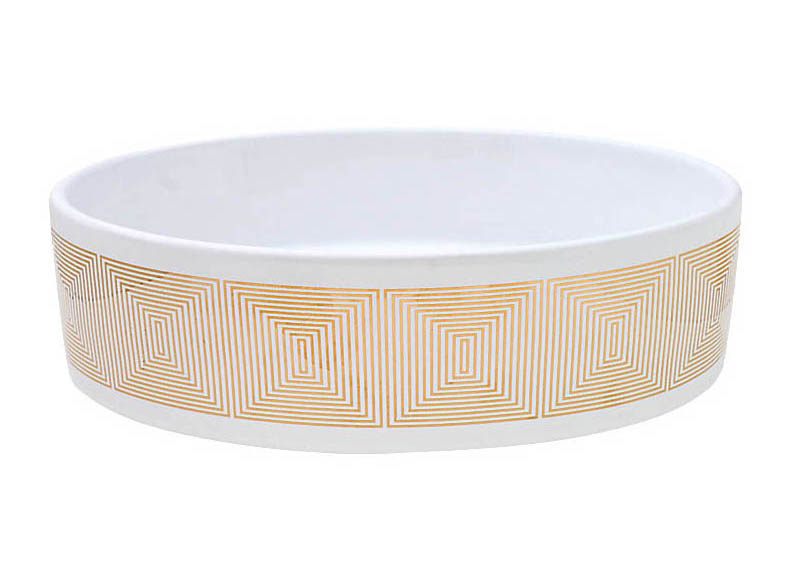 Concentric Squares Design in Gold on a white oval vessel sink.