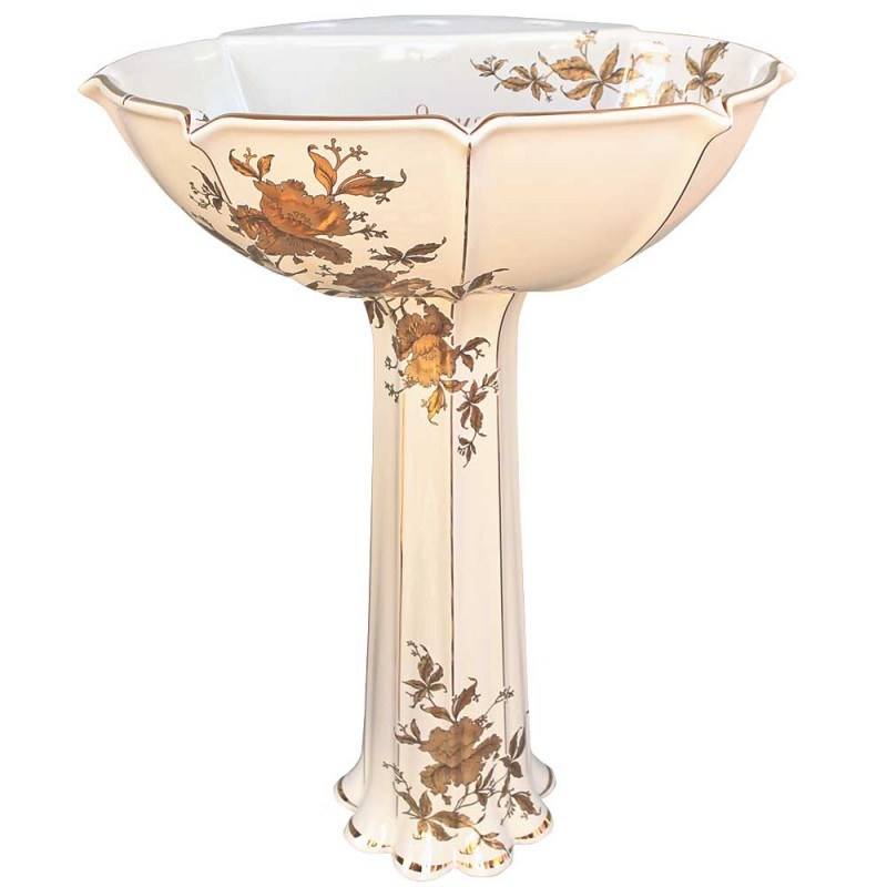 Kohler pedestal lavatory painted with gold orchids