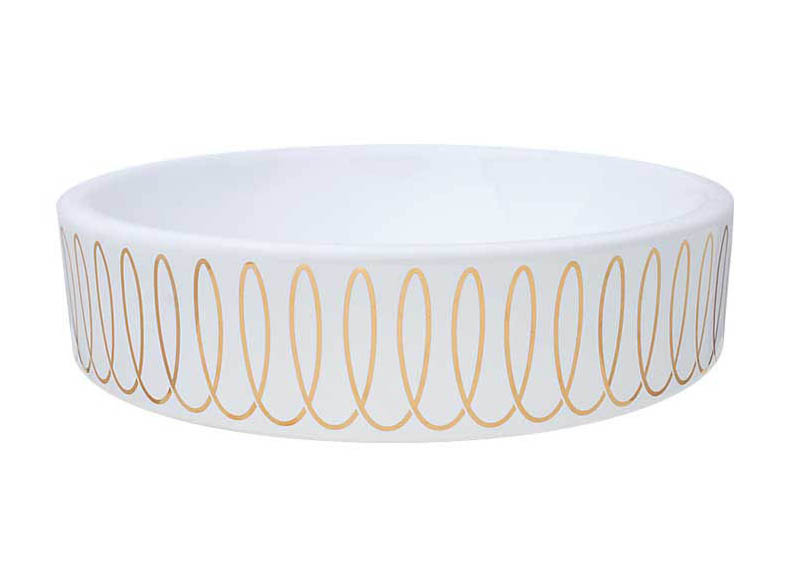 Gold loops design in gold painted on a white vessel sink.