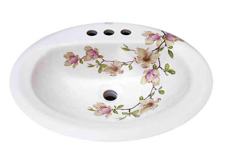 Magnolia Soulangiana hand painted on a white drop in basin.