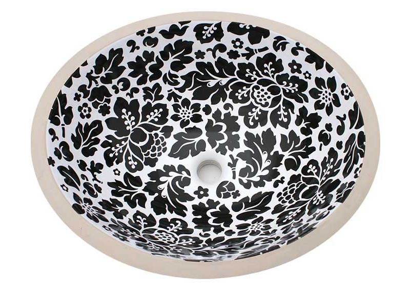 Black Floral design hand painted undermount sink.