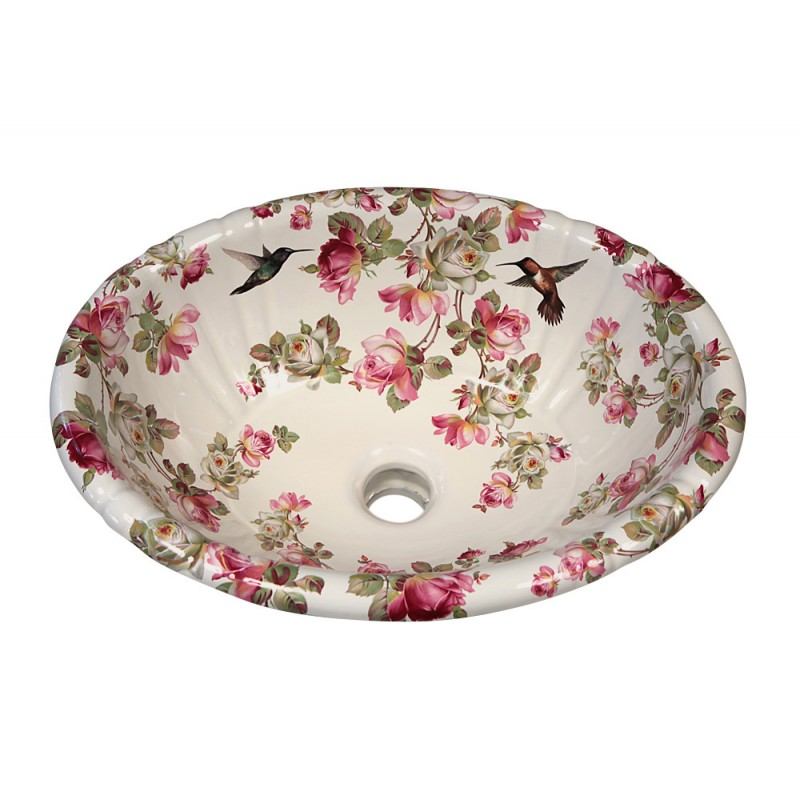 hand painted drop-in porcelain sink with pink roses and hummingbirds