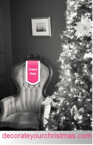 Christmas decorations and santa chair
