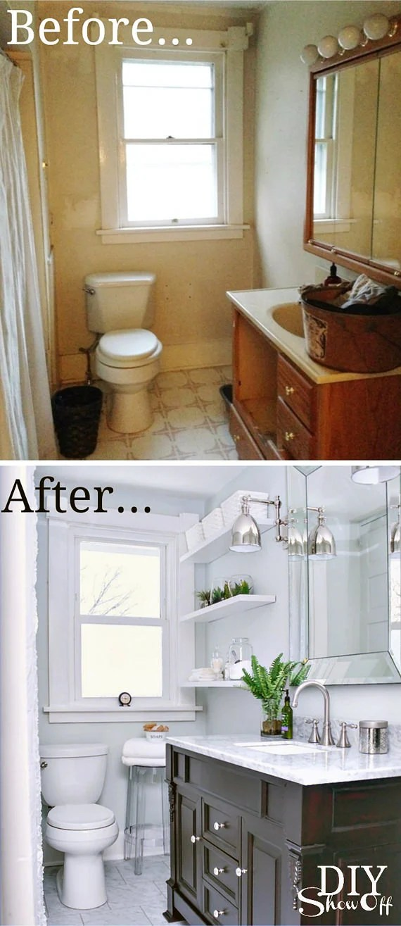 Small Bathroom Ideas & Makeovers   Decorating Your Small Space on Small Space Small Bathroom Ideas Pinterest id=19157