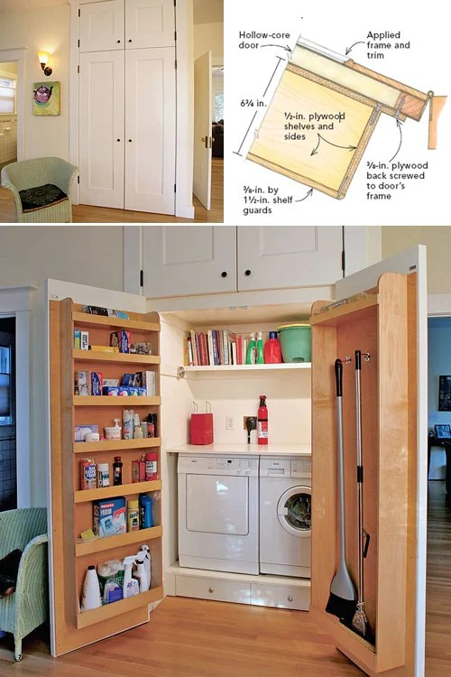 10 Awesome Ideas for Tiny Laundry Spaces   Decorating Your ... on Small Laundry Room Organization Ideas  id=49781
