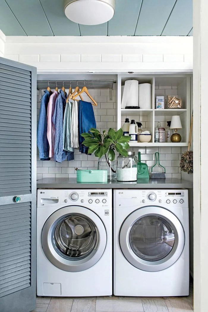 10 Awesome Ideas for Tiny Laundry Spaces | Decorating Your ... on Laundry Decorating Ideas  id=77181