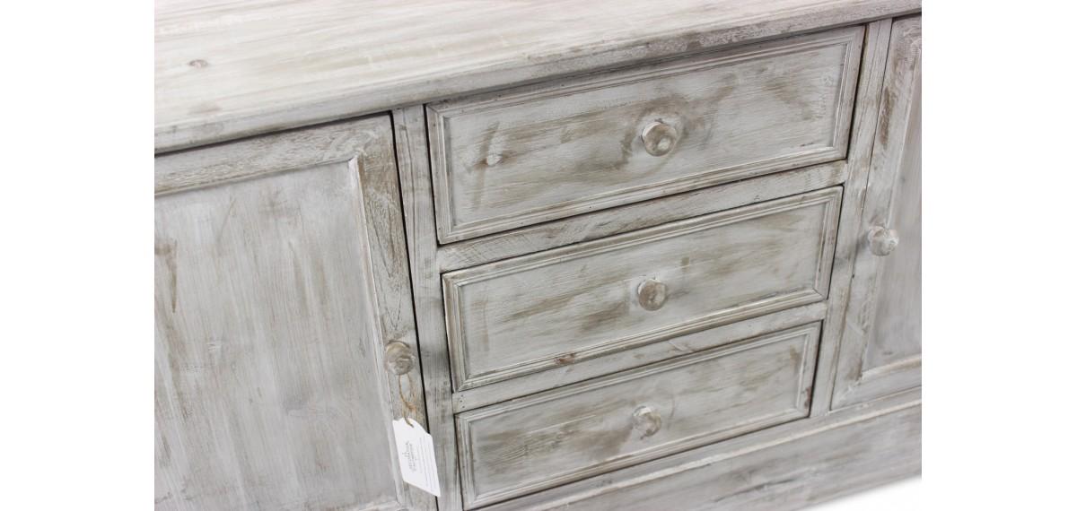 meuble bas rangement bois cesure blanc 3 tiroirs 119x38x64 5cm