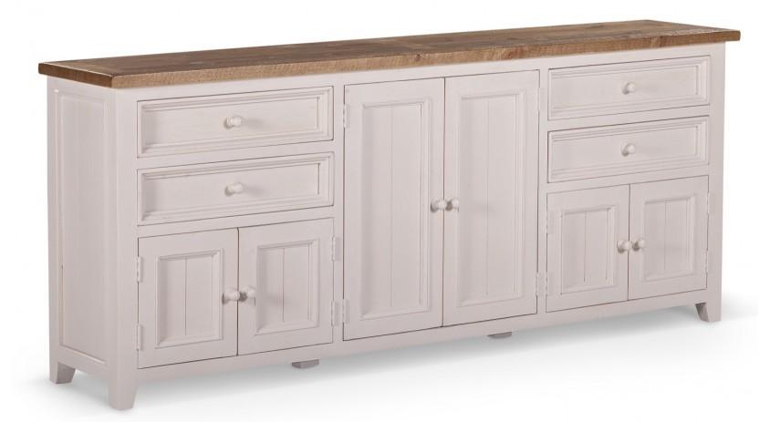 meuble bas rangement bois blanc cesure 4 tiroirs 210x45x89cm
