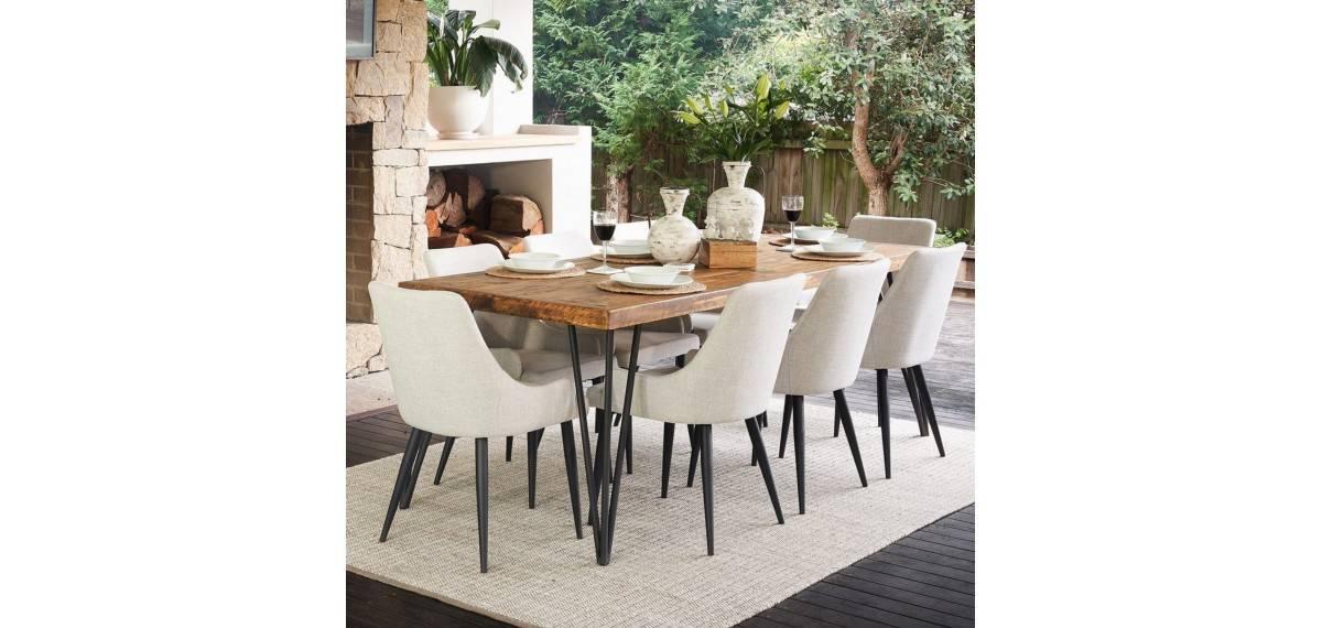 table bois fer forge marron 220x90x80cm