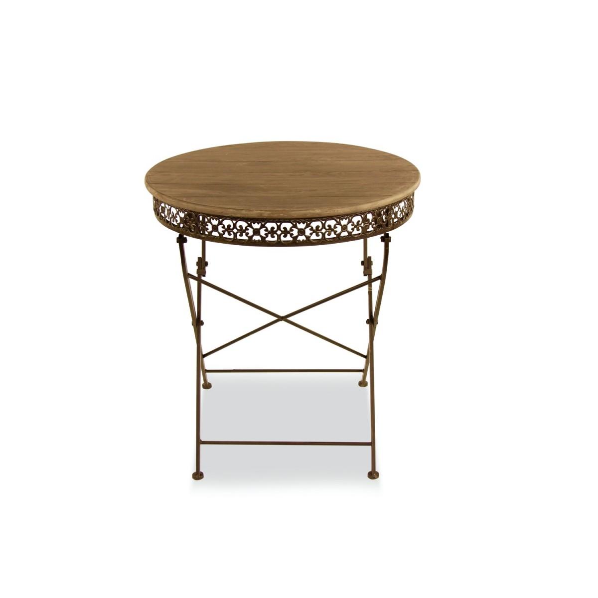table ronde bois fer forge marron 71 5x71 5x78 5cm