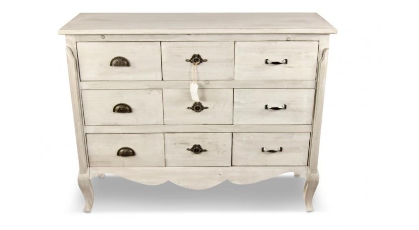 meuble bas rangement bois ceruse blanc 9 tiroirs 121x40x94cm