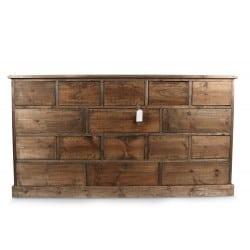 meuble semainier chiffonnier grainetier bois 16 tiroirs nu 170x35x92cm