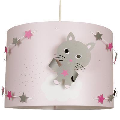 lustre chambre bebe chat gris rose