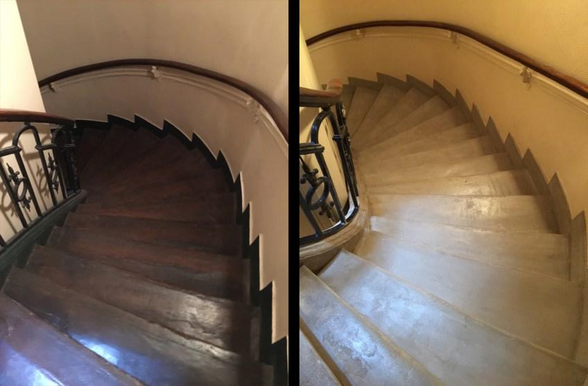 avant-après escalier rénové et aussi éclairci avec béton ciré