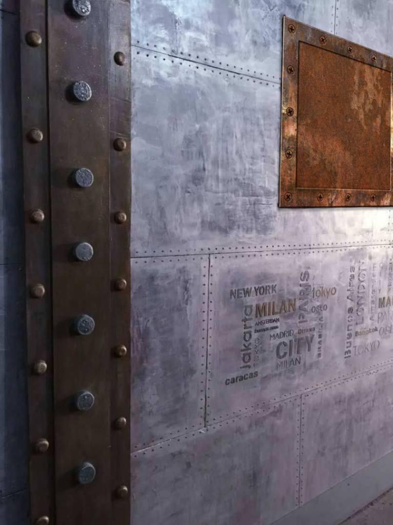 mur métal restaurant style industriel
