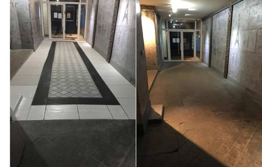 Avant Après rénovation de sol de hall d'immeuble ancien à la mode industrielle et aussi contemporaine au sol