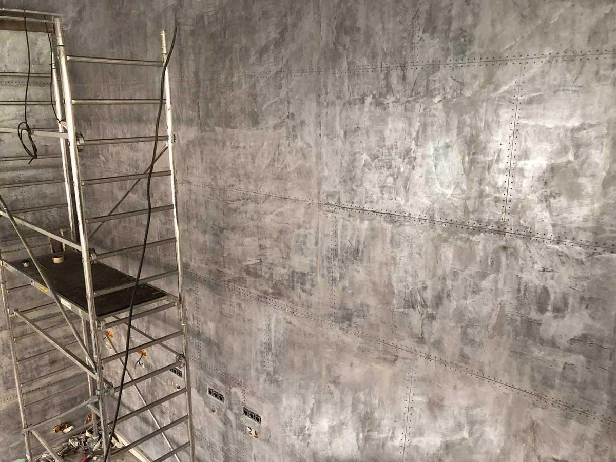 Décoration sur BA13 pour des murs métal style industriel.