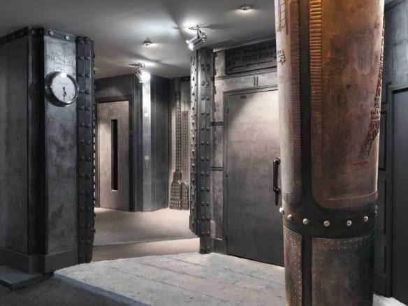 Décoration murs hall d'immeuble pour des murs métal en dimension 3D et style eiffel en relief trompe l'oeil