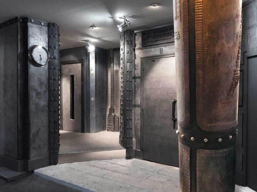 Décoration murs hall d'immr. pour des murs métal en dimension 3D et style eiffel en relief trompe l'oeil